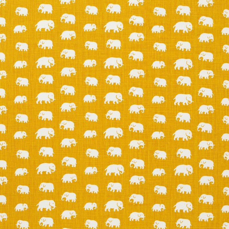 Tygprov Elefant - Lin, Elefant, Gul | Svenskt Tenn