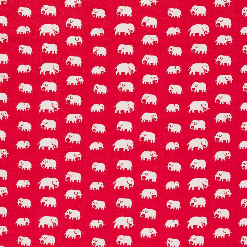Tygprov Elefant - Lin, Elefant, Röd | Svenskt Tenn