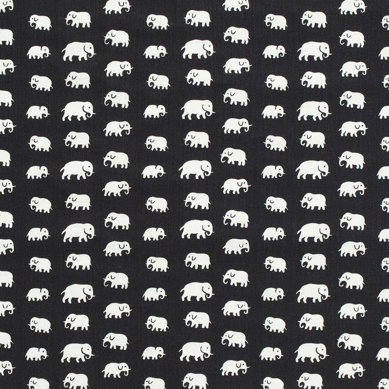 Textil Elefant - Lin, Elefant, Svart | Svenskt Tenn