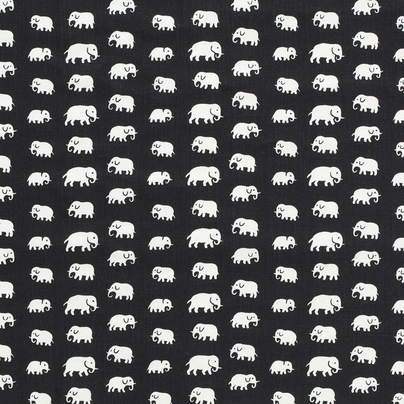 Tygprov Elefant - Lin, Elefant, Svart | Svenskt Tenn
