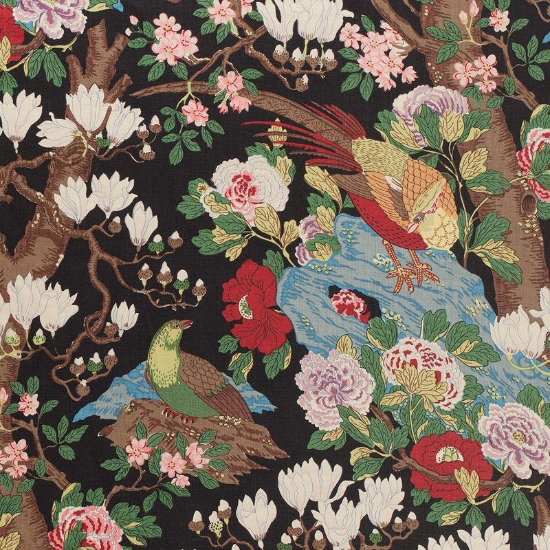 Textil Magnolia - Lin, Magnolia, Svart | Svenskt Tenn