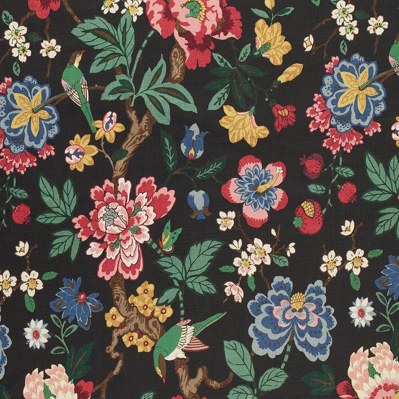 Textil Pomegranate Tree - Lin, Pomegranate Tree, Svart | Svenskt Tenn