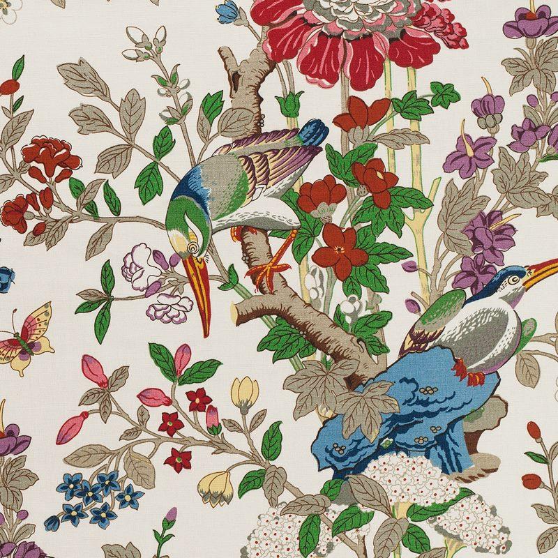 Fabric Sample Toucans - Linen, Toucans, White | Svenskt Tenn