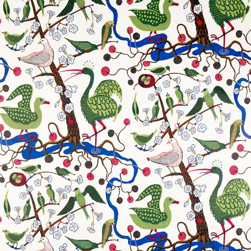 Textil Gröna Fåglar - Vaxduk, Gröna Fåglar | Svenskt Tenn