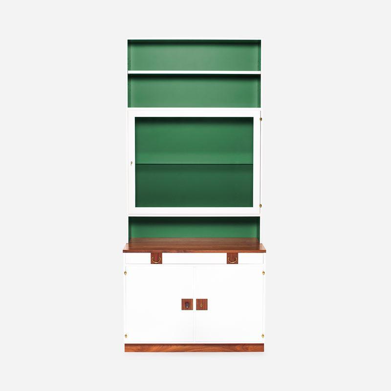 Bookcase 2255 with Glass Cabinet - Walnut, White | Svenskt Tenn