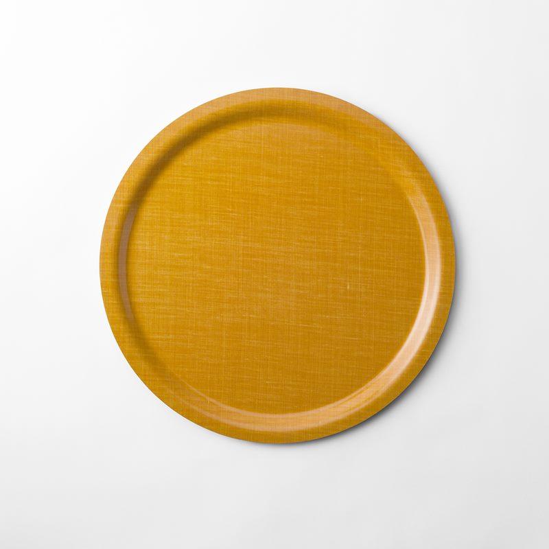 Tray Svenskt Tenn Linen - 49 cm, Round, Yellow | Svenskt Tenn