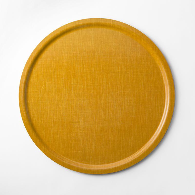 Tray Svenskt Tenn Linen - 65 cm, Round, Yellow | Svenskt Tenn