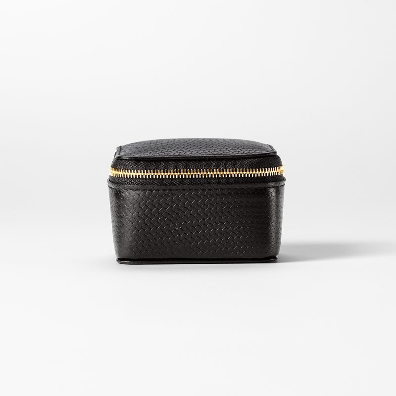 Cufflinks Box Embossed Leather - Skin, Black | Svenskt Tenn