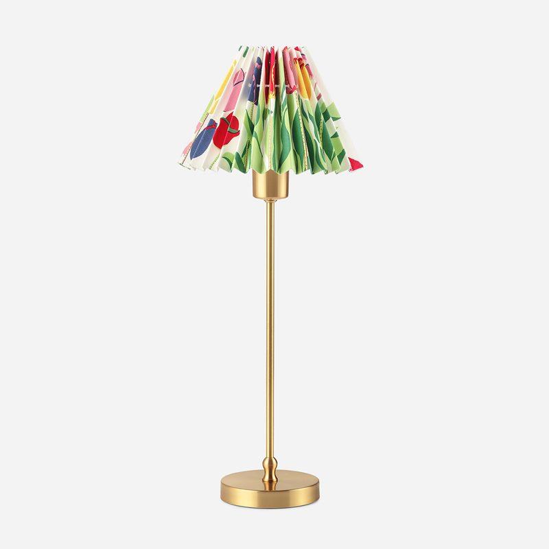 Lampskärm Plisserad - 16,5 cm, Bomull, Tulpaner, Vit | Svenskt Tenn