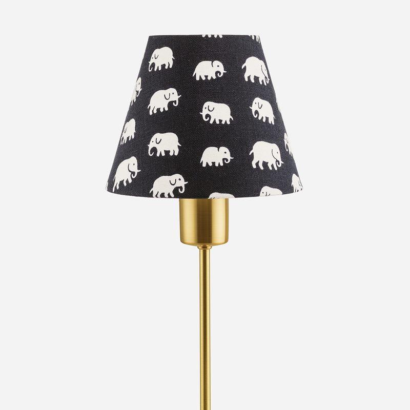 Lampskärm Spänd 2332 - Lin, Elefant, Svart | Svenskt Tenn