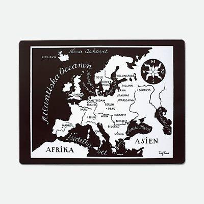 Karta Europa Pa Svenska.Underlagg Varldskarta Europa Rektangular Josef Frank Svenskt