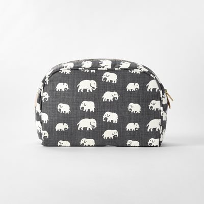 Toiletry Bag Elefant - Large, Linen, Elefant, Grey, Estrid Ericson/Svenskt Tenn | Svenskt Tenn