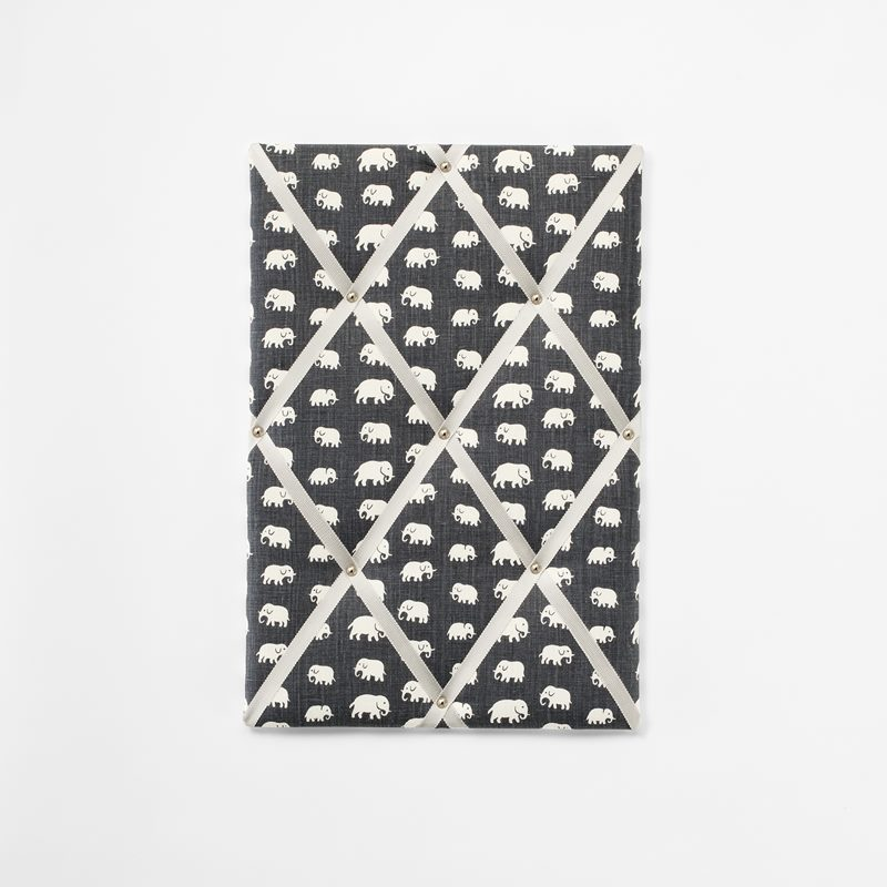 Noticeboard - Small, Linen, Elefant, Grey | Svenskt Tenn