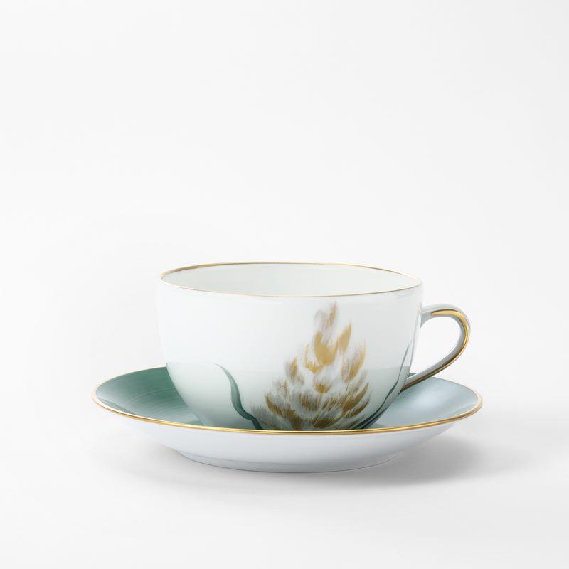 Service Marie Daage - Porcelain, Teacup with plate, Turquoise Gold | Svenskt Tenn