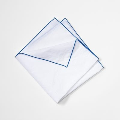 Napkin with Decoration Seam - Cotton Linen, Blue, Svenskt Tenn | Svenskt Tenn