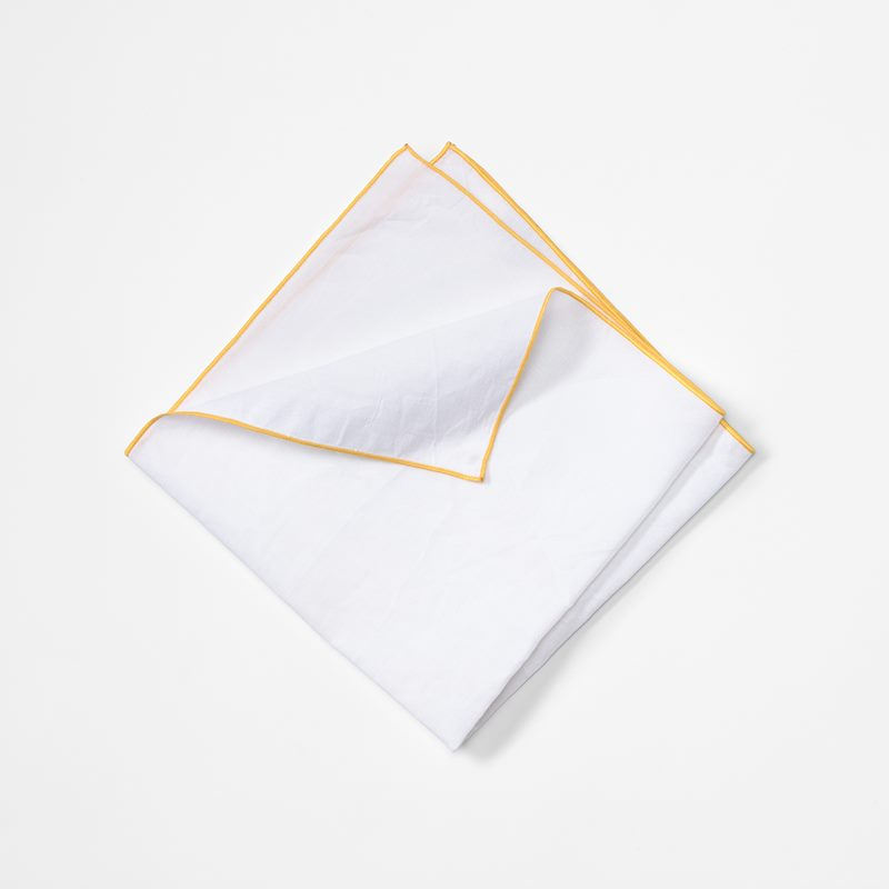 Napkin with Decoration Seam - 49x49 cm, Cotton Linen, Yellow | Svenskt Tenn