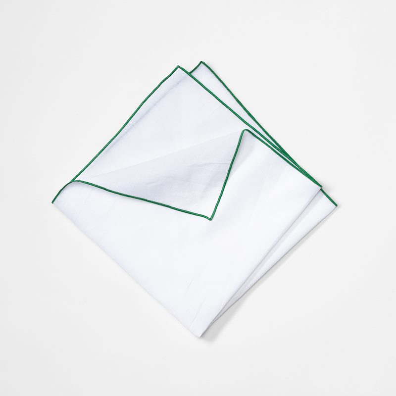 Napkin with Decoration Seam - 49x49 cm, Cotton Linen, Dark Green | Svenskt Tenn