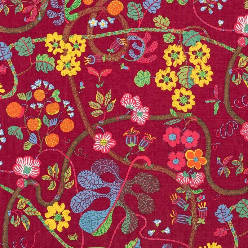 Textil Baranquilla - Lin 315, Baranquilla, Vinröd | Svenskt Tenn