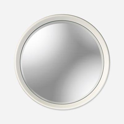 rund spegel vit ram