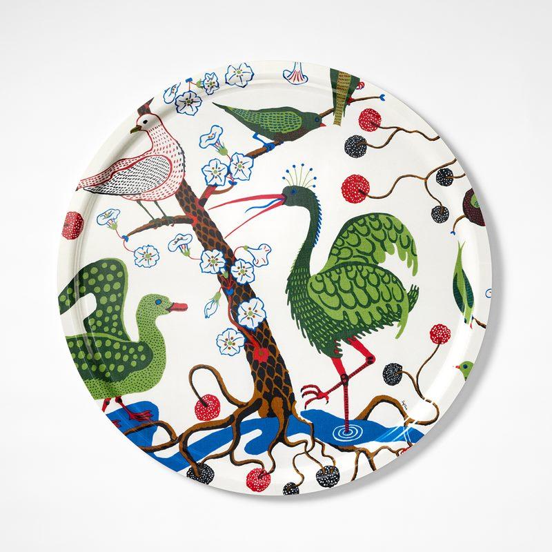 Tray Gröna Fåglar - 65 cm, Gröna Fåglar, Round | Svenskt Tenn