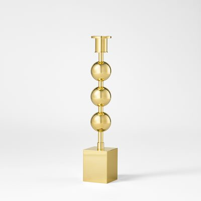 Candle Holder Three Globes - Brass, Sigurd Persson | Svenskt Tenn