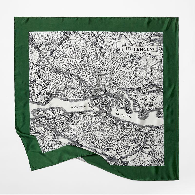 Scarf Stockholm - 90x90 cm, Siden, Grön | Svenskt Tenn
