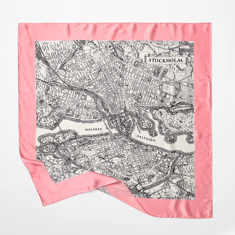 Scarf Stockholm - 90x90 cm, Siden, Rosa | Svenskt Tenn