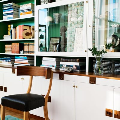 Bookcase 2255 with Glass Cabinet - Walnut, White, Josef Frank | Svenskt Tenn