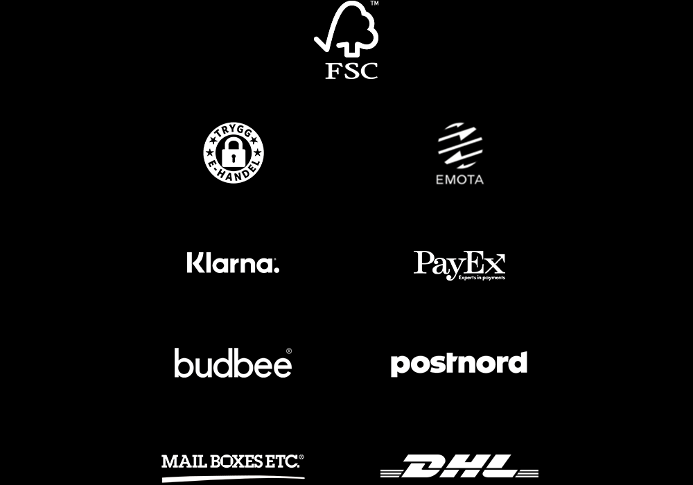 Logos of Trygg e-handel, Postnord, DHL, MAIL BOXES ETC, PayEx, budbee, FSC and EMOTA